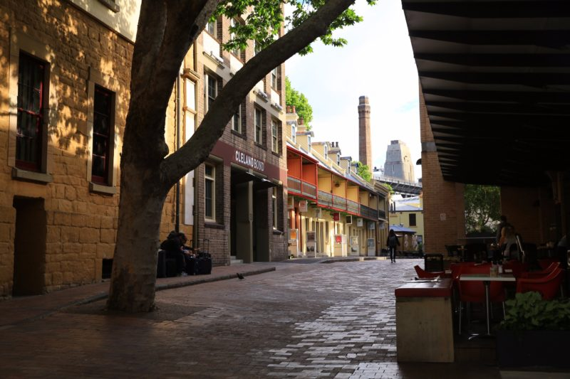 The rocks back streets with Harbour Bridge centre background