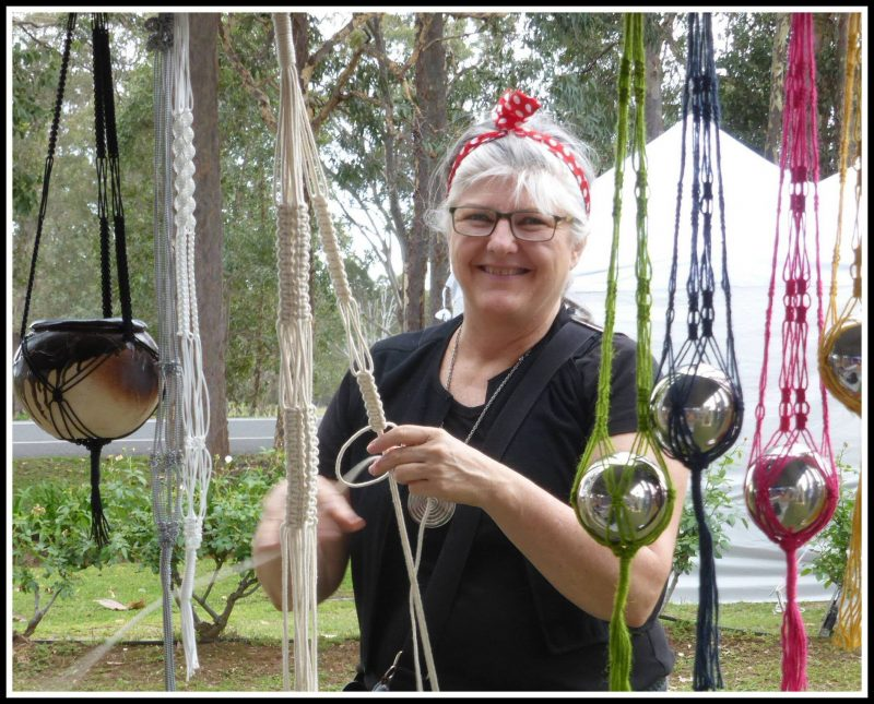 Handmade in the Hunter Markets Stallholder demonstrating macrame.