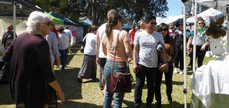 Crowd of people enjoying Handmade in the Hunter Markets