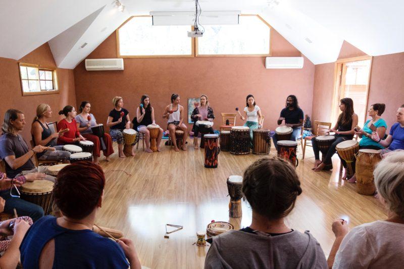 Drumming Circle at Happy Buddha Retreats