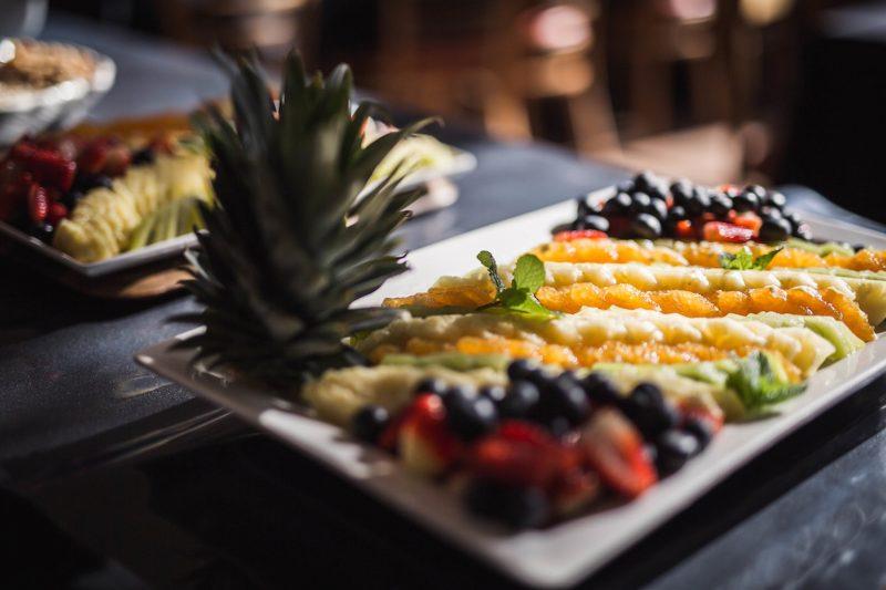 Platter of vegetarian breakfast goods at Happy Buddha Retreats