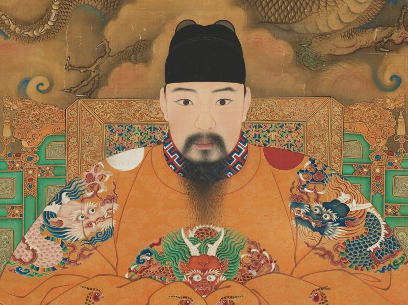 Silk hanging scroll depicting the Hongzhi Emperor from the Ming Dynasty 1368-1644