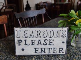 Shabby chic chairs, table, Original tea room sign