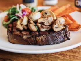 famous steak with mushrooms