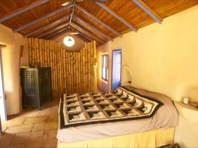 Bedroom of the straw bale house