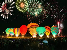 Balloon Glow with fireworks