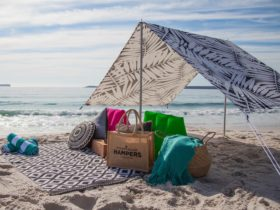 Picnic hamper on the beach