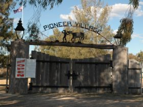 Wooden front gates of Pioneer Village