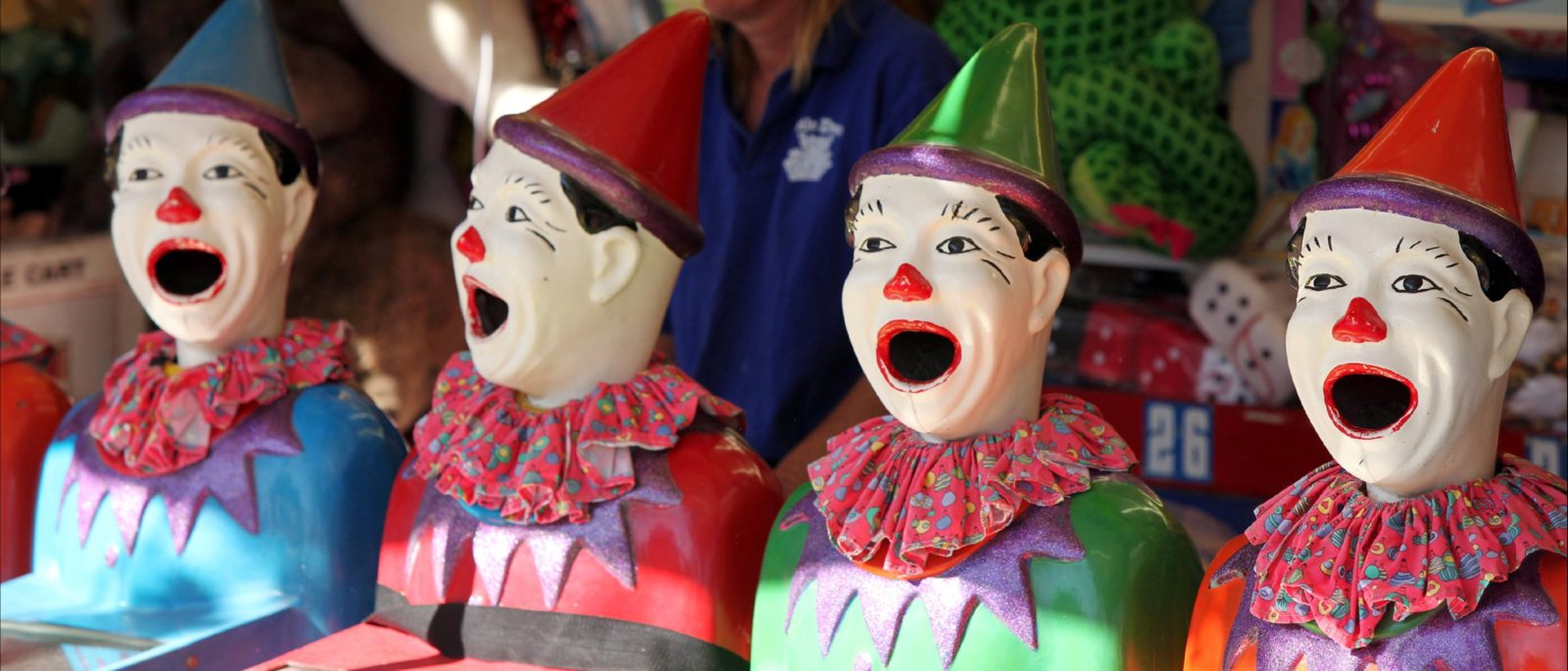 Three Sideshow Clowns in a row