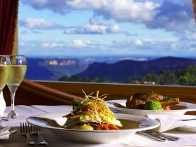 Dinner and drinks with background views at Jamison Views Restaurant