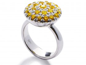 white gold and natural yellow diamond dress ring