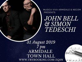John Bell and Simon Tedeschi Event Card - 31 August 2019 7pm Armidale Town Hall
