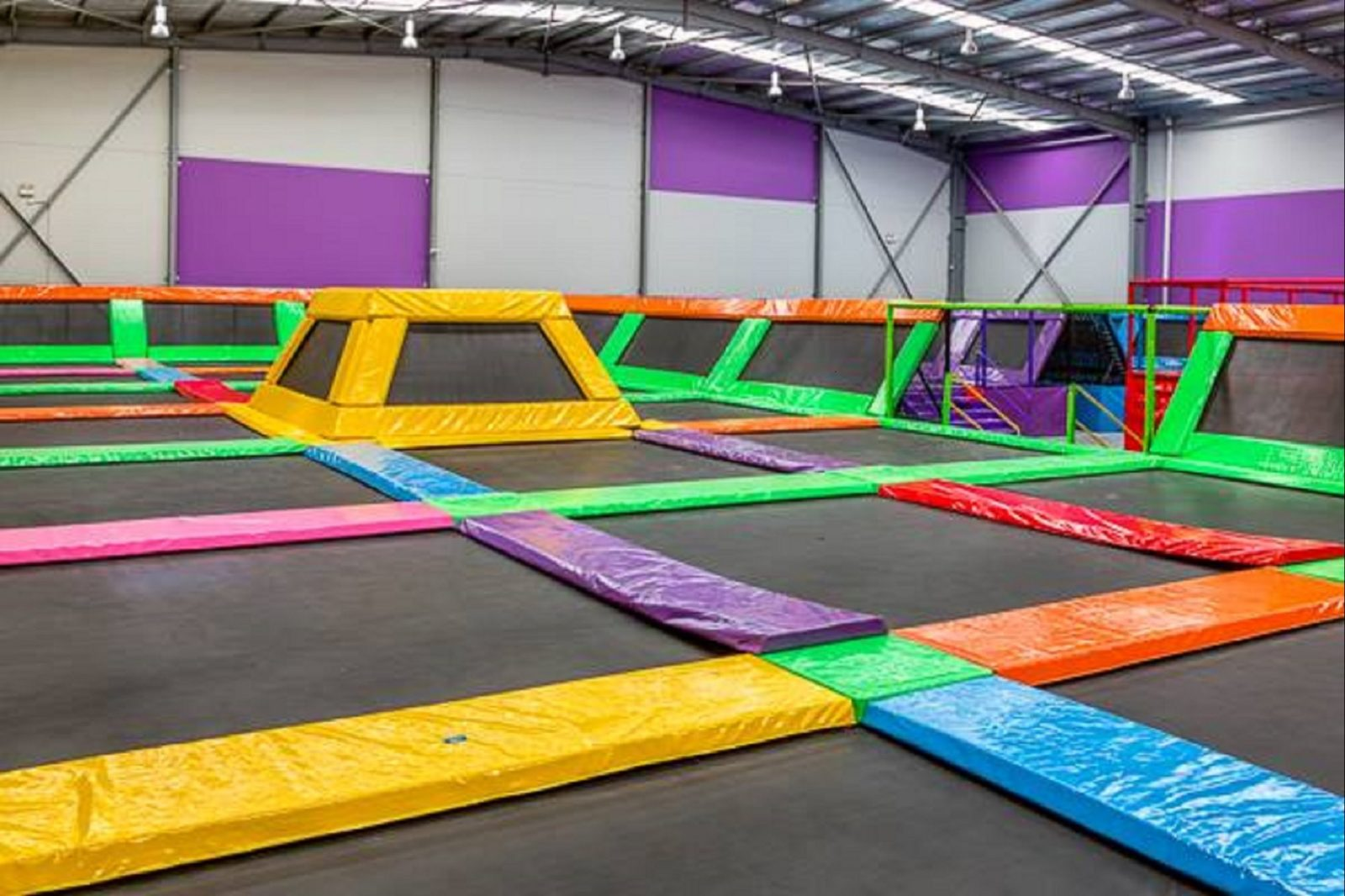 Colourful trampolines at Jump Zone Revolution