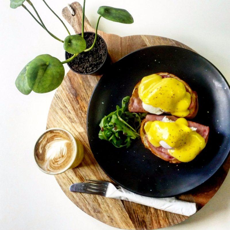 Eggs benedict at Kaffeine