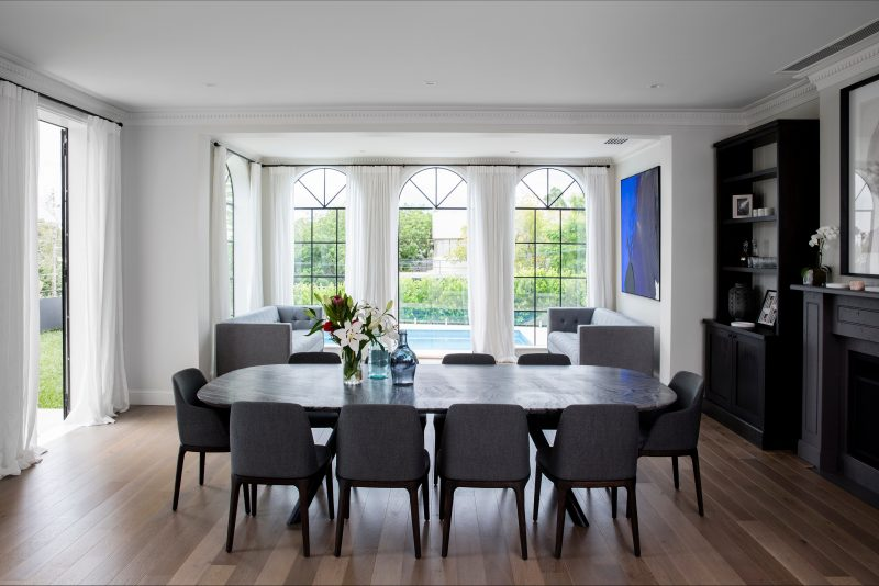 Large dining room open to a private garden