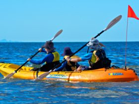Three children in kayak
