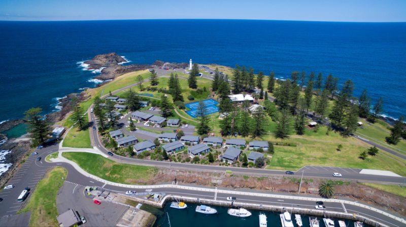 Aerial view of Kiama Harbour Cabins