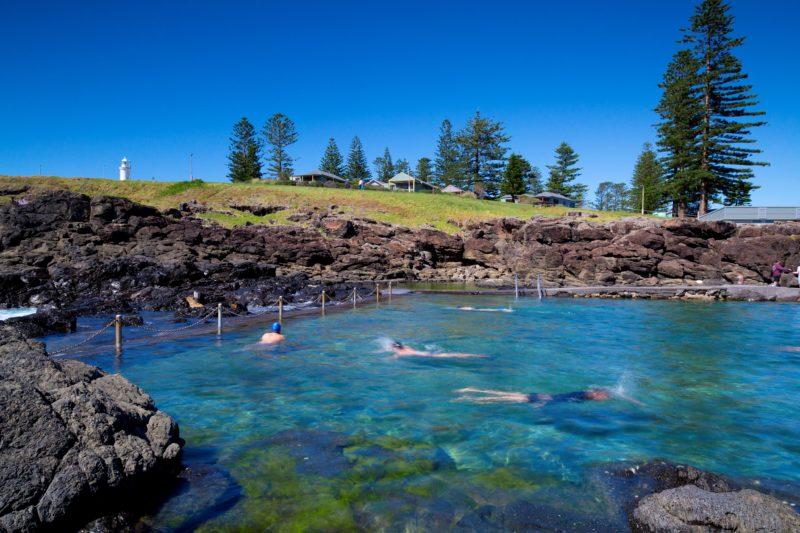 Rock pool below Kiama Harbour Cabins