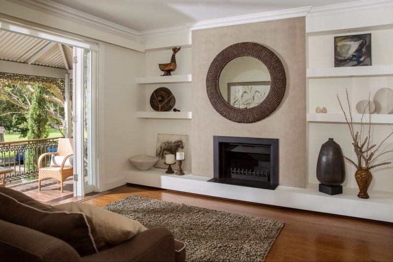 Open living room facing the fireplace