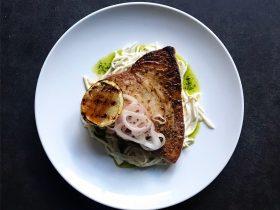Swordfish, Celeriac Remoulade, Bay leaf oil