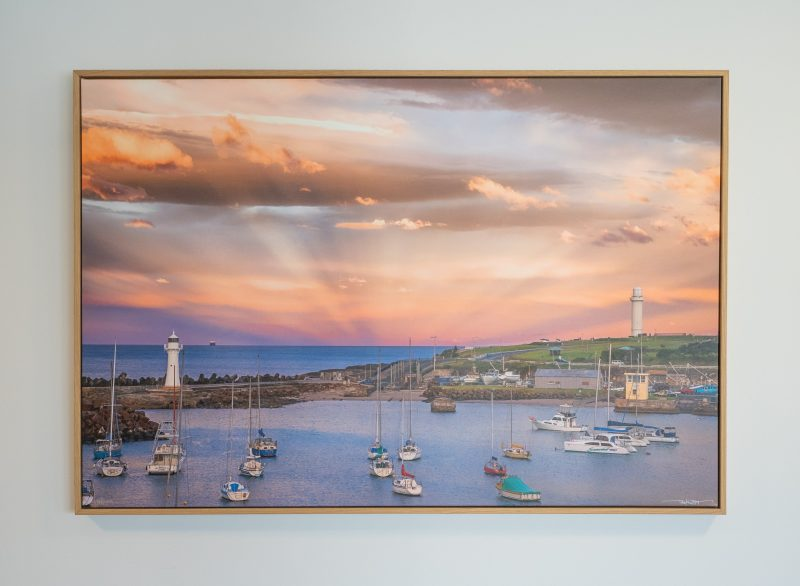 Canvas photograph of Wollongong Harbour with an oak timber frame