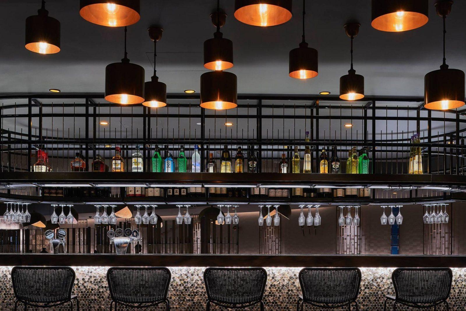 Bar set up with beautiful lighting