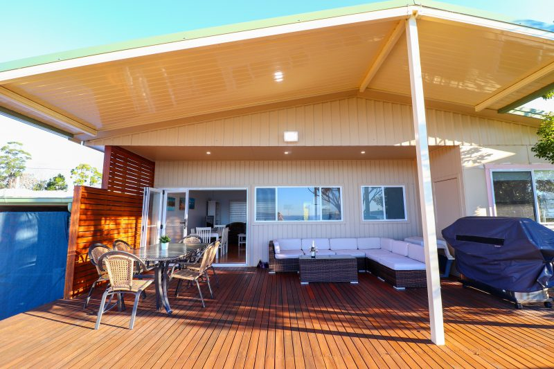 There is a large deck at the back of the house with access to the front reserve.
