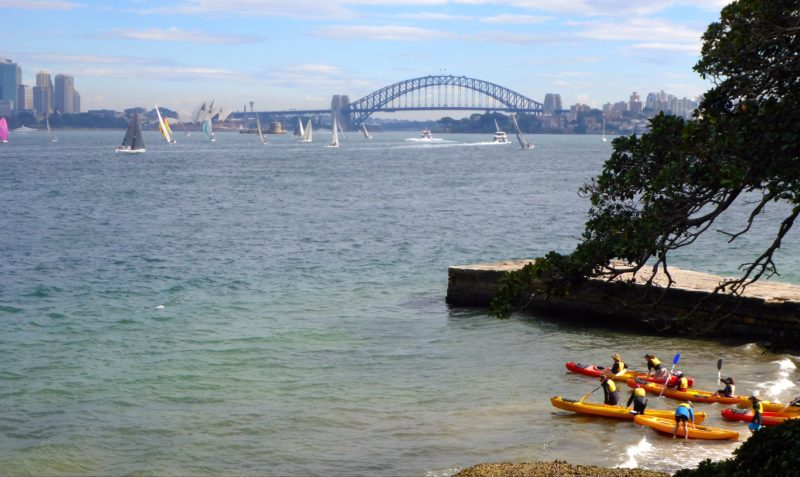 Land's Edge Sydney Harbour NSW Group Accommodation. Kayaking lead by Land's Edge Staff.