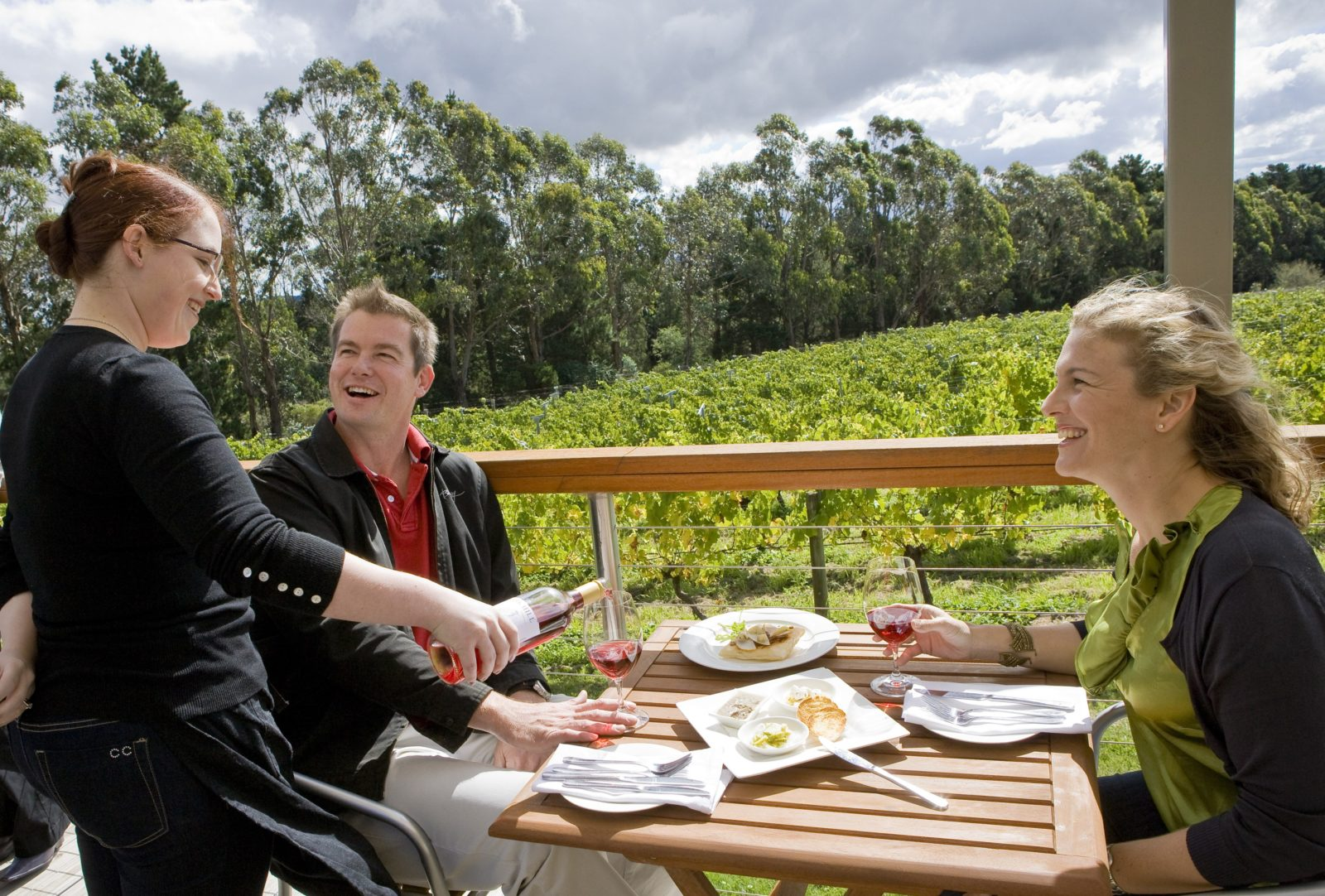 Couple enjoying wine with lunch on the deck overlooking the vines
