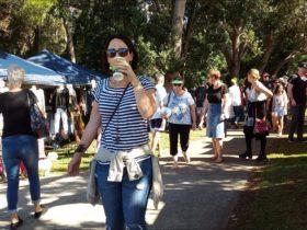 Market visitors enjoying the Laurieton Riverwalk Market