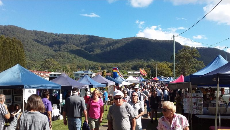 The Laurieton Riverwalk Market with beautiful North Brother Mountain behind