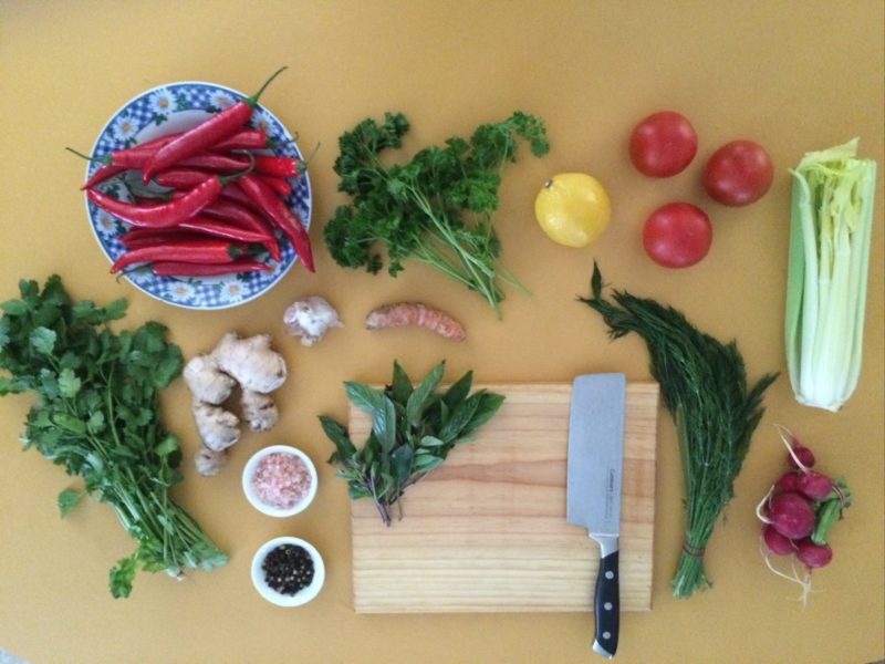 A selection of herbs and chillis