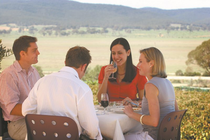 Friends enjoying wine and food and views