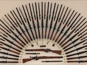 Rising Sun display - every year of production of the Lithgow rifle