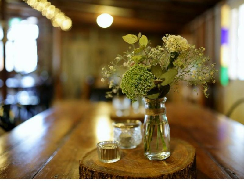 flowers, table, inside cafe, candle