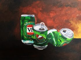 MATHILDA ROBBA Still life with VB cans 2018, oil on board, 30 x 42cm