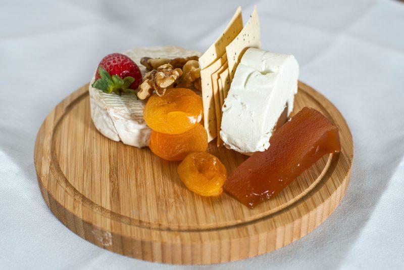 Gourmet food on a wooden platter