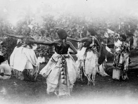 SEASEA, A MEKE (TYPE OF DANCE), BEING PERFORMED IN FIJI