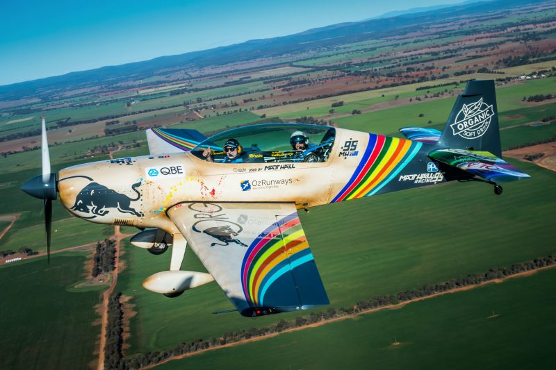 Matt Hall flies a customer during their joy flight