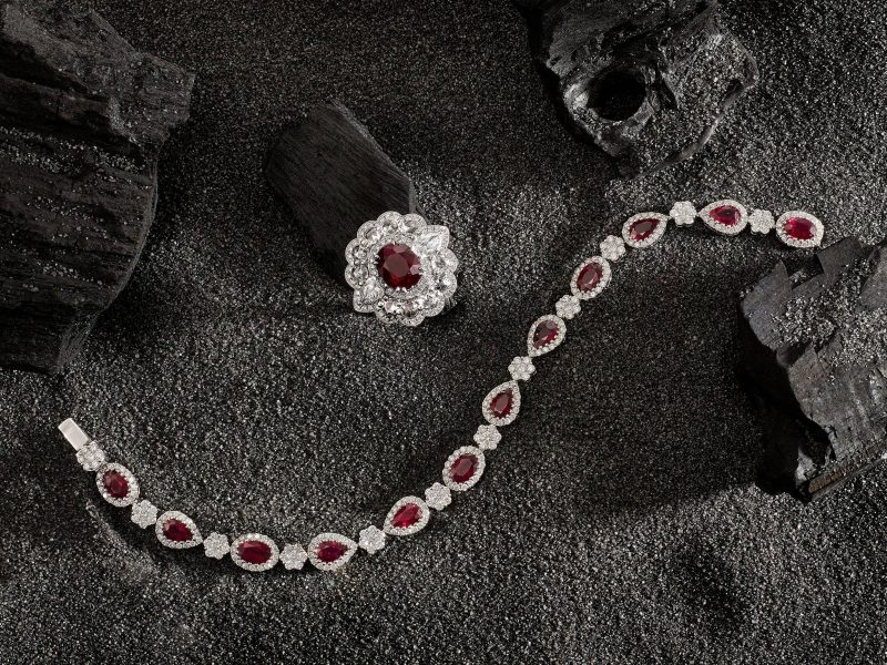 The pairing of the Ruby and Diamond Ring with the Ruby and Diamond Tennis Bracelet