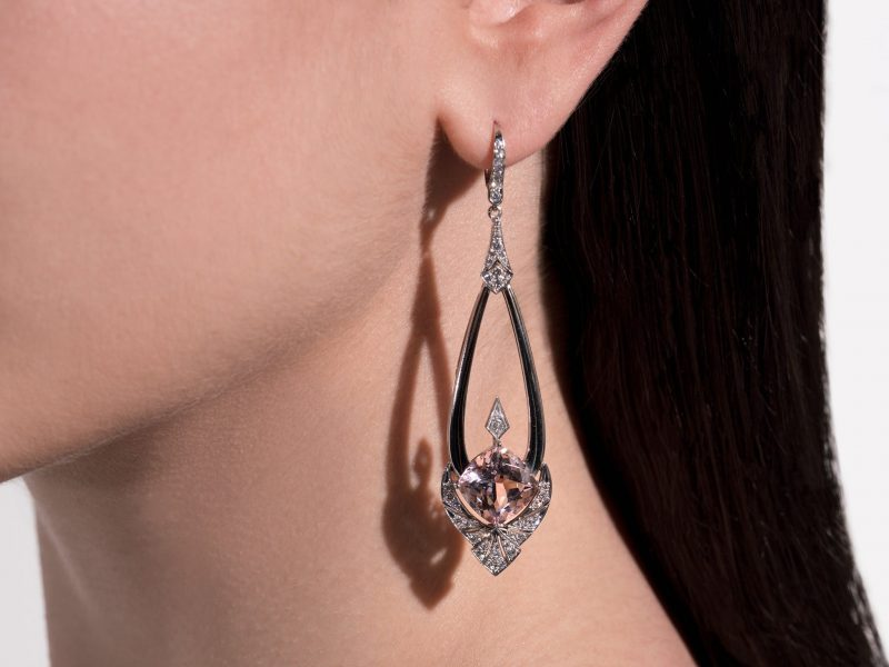 Drop earrings set with Cushion Cut Morganites and Diamonds