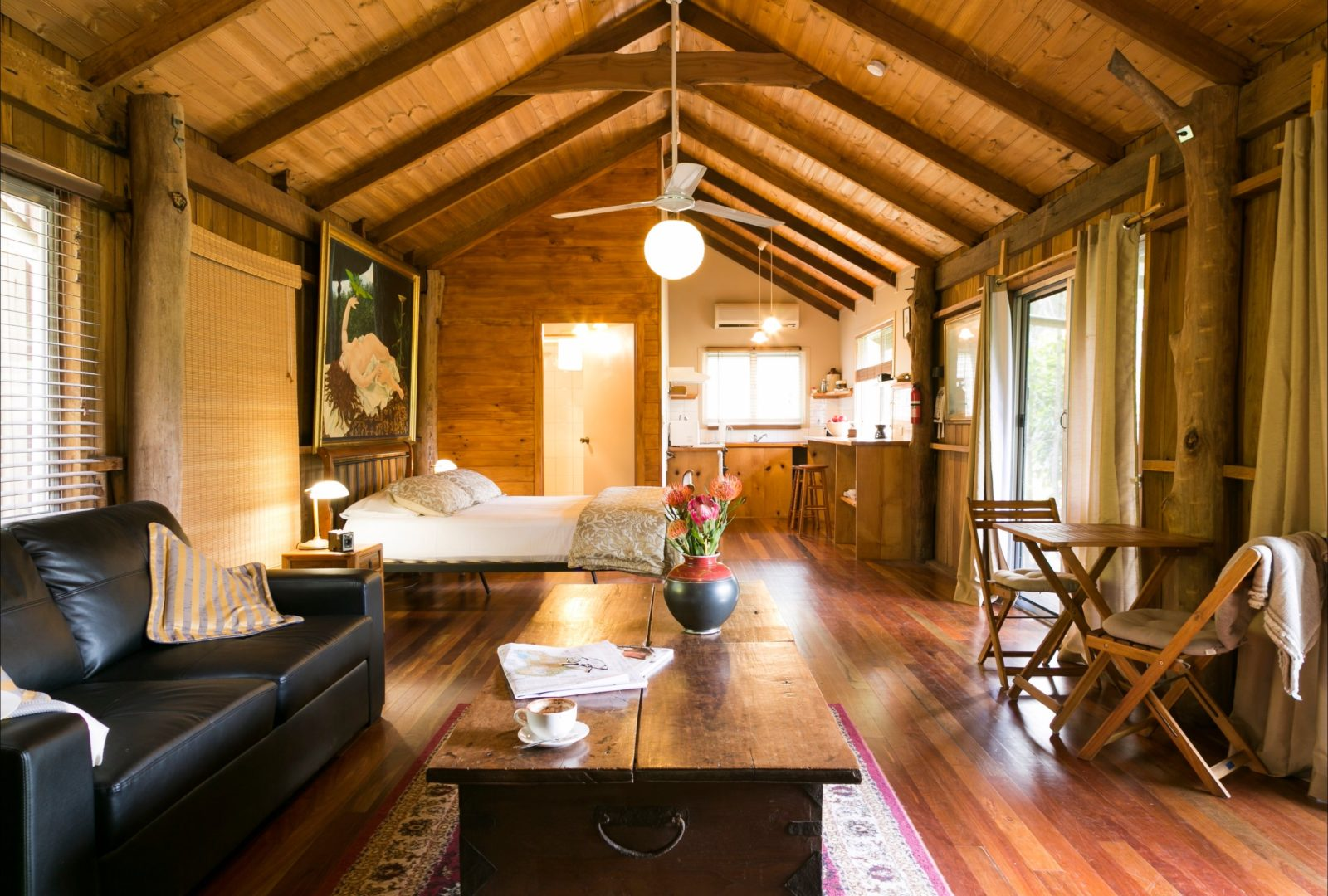 Romantic couples accommodation in the studio-style Log Cabin.