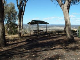 View of Inverell from the lookout with picnic table in the foreground