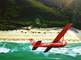 Red plane flying over a beautiful beach