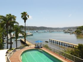 View to Pittwater and pool from Newport Mirage Hotel