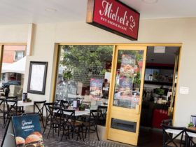Outdoor dining at Michel's Patisserie and Cafe, Maitland