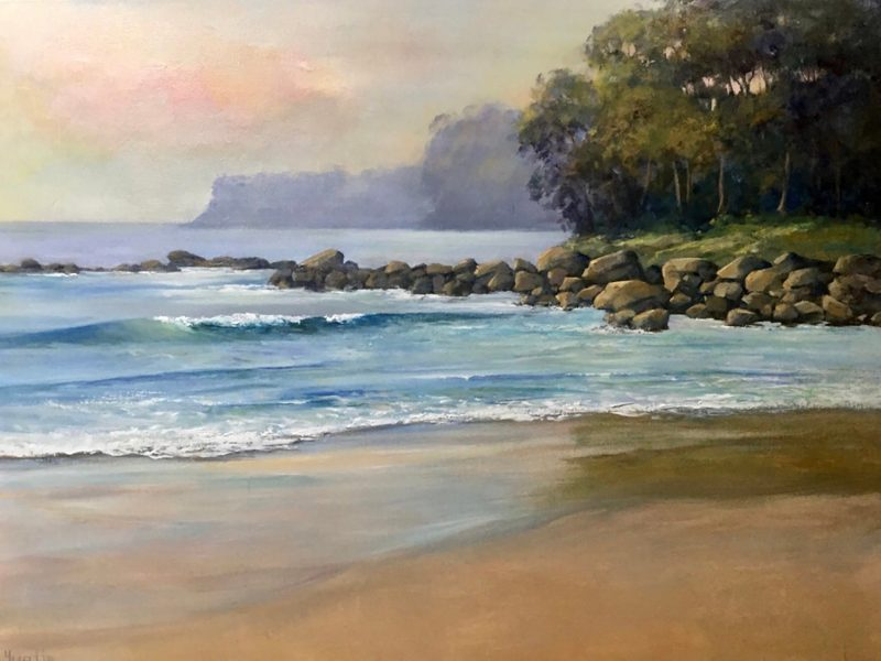 Painting of Misty Morning Narrawallee by Yvette Murphy