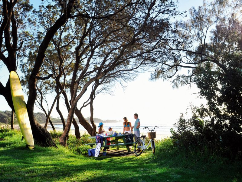 Picnic by the beach at Minnie Water Holiday Park