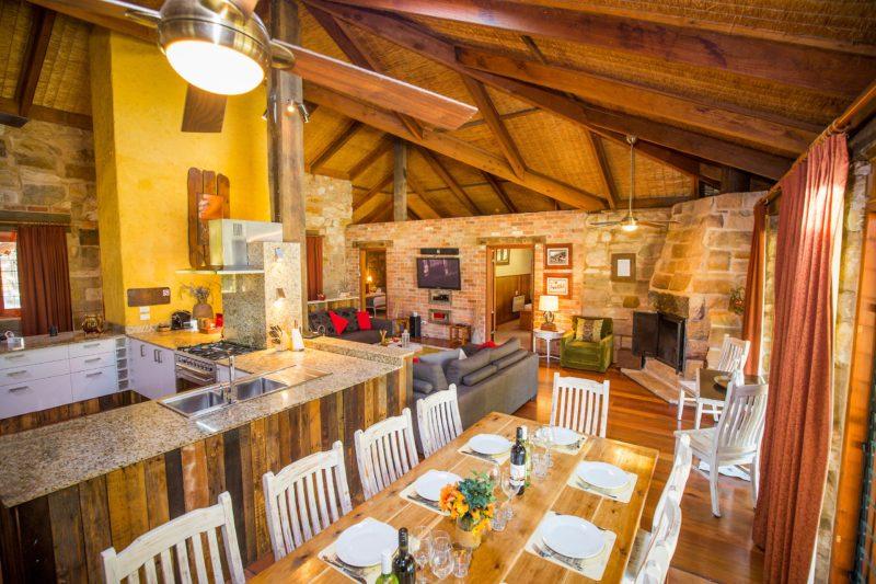 Dining, lounge, kitchen