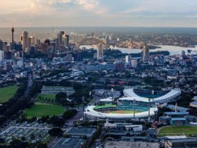 Aerial of Sydney with the Sydney Cricket Ground and Allianz Stadium